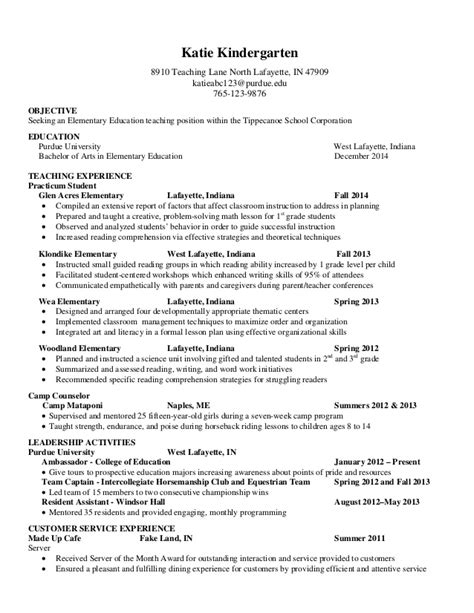 exle resume for education majors resume exles