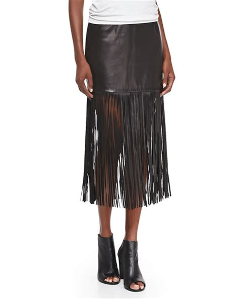 cusp by neiman fringe trim leather skirt black