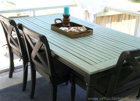 chalk paint outdoors rescued patio table re do duck egg blue chalk paint