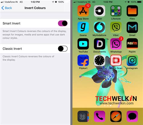 color invert ios display accommodations inverse colors and color