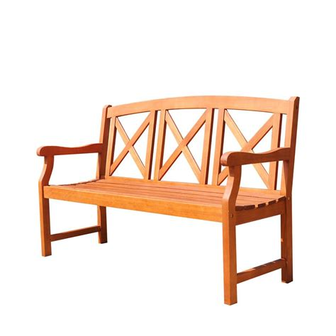foot benches eucalyptus 2 seater patio bench v507 the home depot