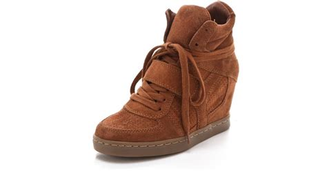 ash cool wedge sneakers ash cool wedge sneakers in suede in brown lyst