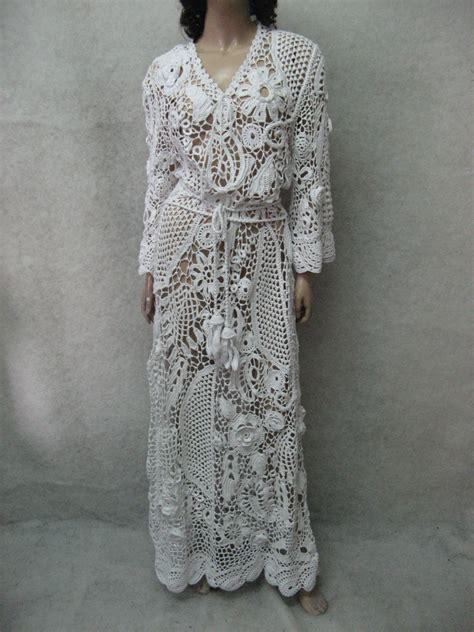 Handmade Maxi Dresses - wedding handmade maxi dress crochet white lace dress