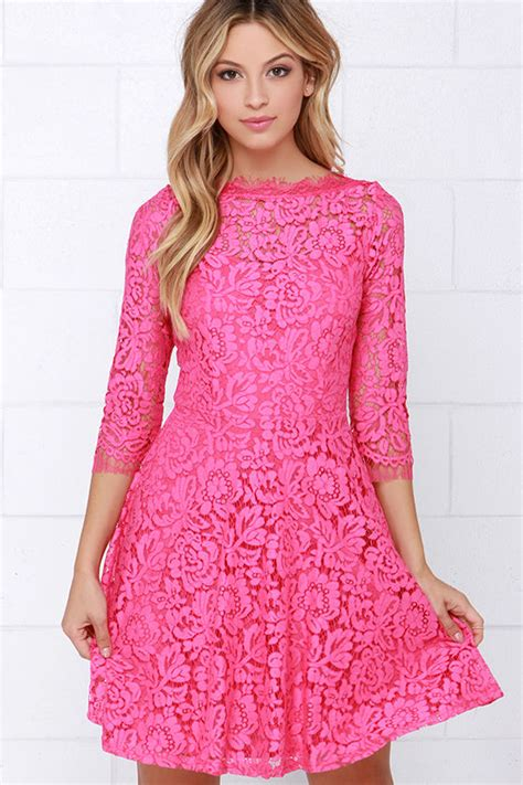 dsbm223781 pink dress dress pink beautiful lace dress pink dress skater dress 64 00