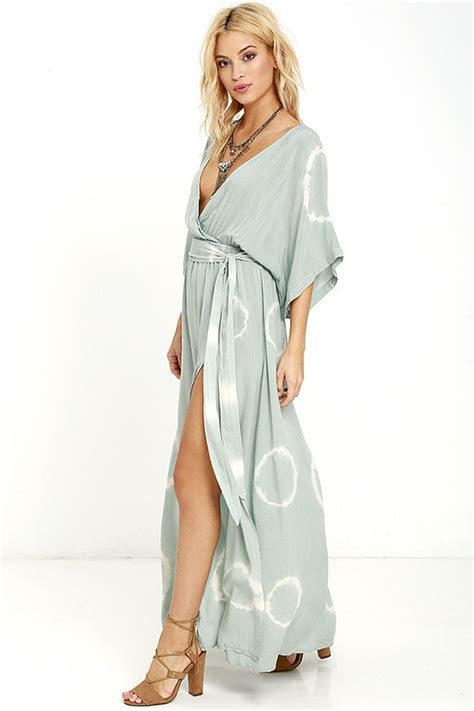 Livi Maxy Dress boho green dress tie dye dress maxi dress wrap