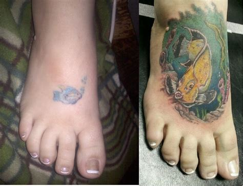 tropical fish tattoos tropical fish foot cover up before and after