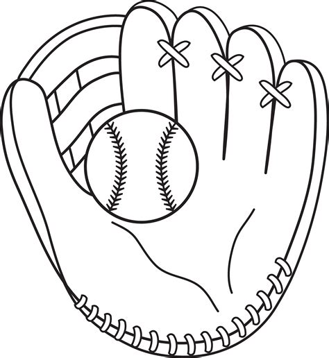 colorable baseball and mitt free clip art