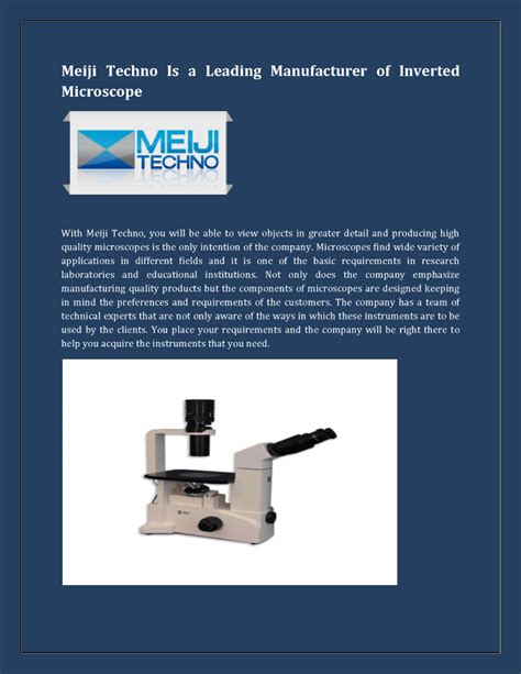 Meiji Card Template by Leading Manufacturer Of Inverted Microscope Authorstream