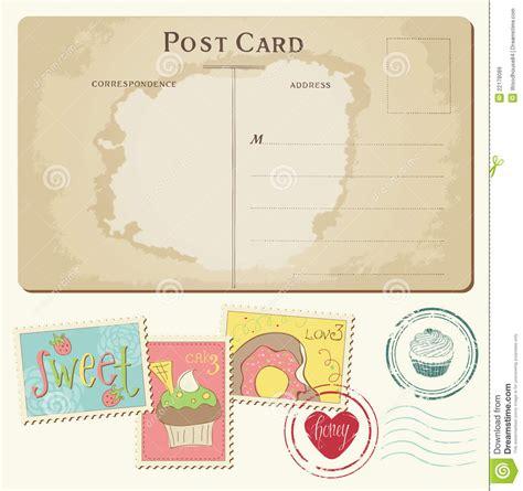 Kã Ndigen Brief Reeks Cupcakes Op Oude Prentbriefkaar Met Zegels Vector Illustratie Afbeelding 22178089