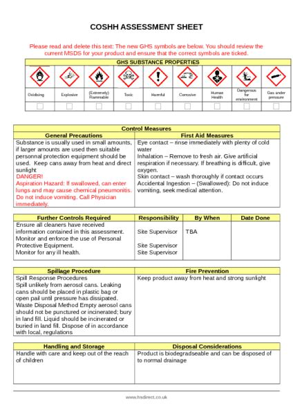 wd40 coshh assessment exle to download