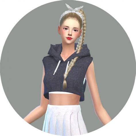 sims 4 cc crop tops sims4 marigold hood sleeveless crop top sims 4 downloads