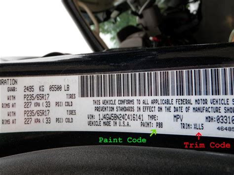 how to find paint codes and interior trim codes on your jeep grand east coast auto