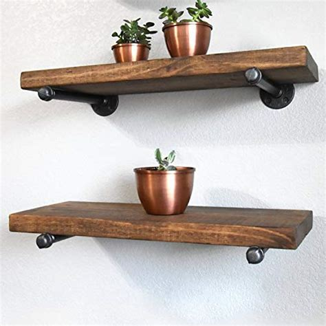 industrial pipe shelf brackets   set   rustic