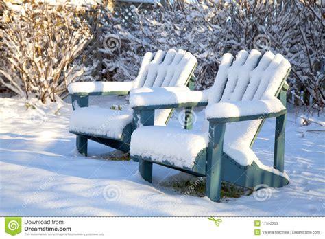 winter adirondack chairs stock image image  chair