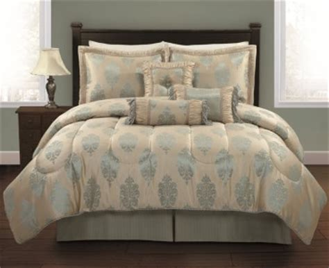 light blue comforter set queen 7 pc elegant gold light aqua blue jaquard queen size