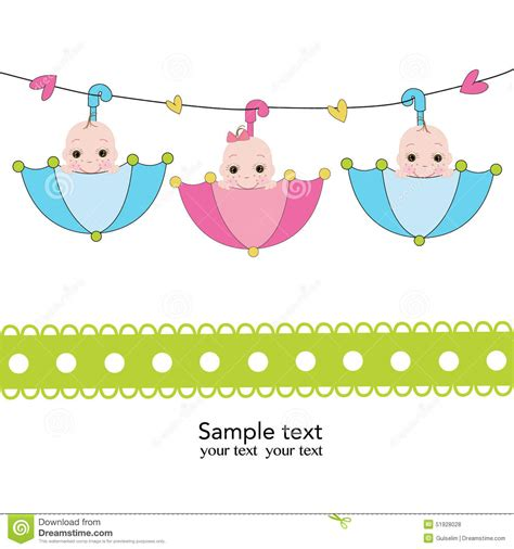 What Is A Sprinkle Shower For Babies by Triplets With Umbrella Baby Shower Card Stock Vector