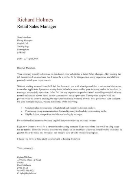 excellent cover letter exle for retail sales manager