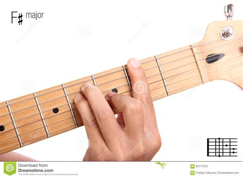 tutorial guitar up f sharp major guitar chord tutorial stock image image