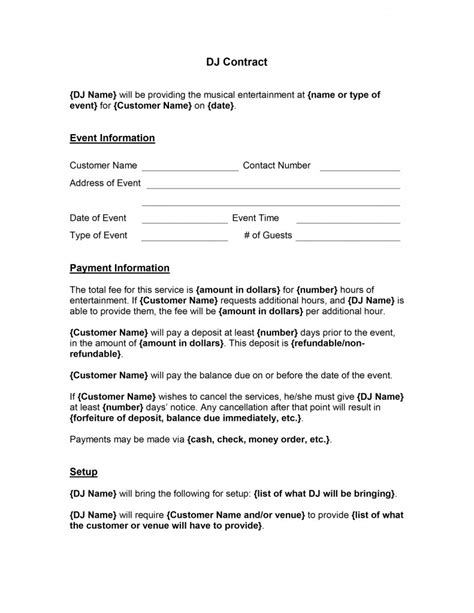 agreement contract template word dj contract template free microsoft word templates