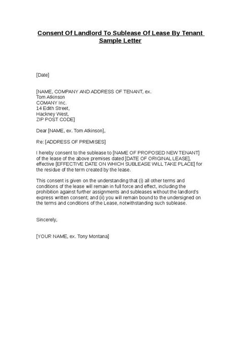 consent letter to use property consent of landlord to sublease of lease by tenant sle
