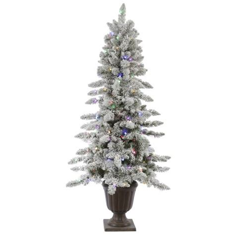 6 pre lit potted flocked nordic artifical christmas tree