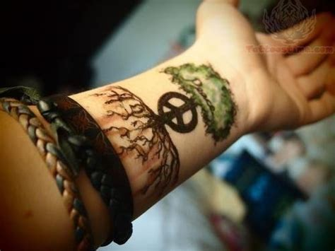 peace tattoo wrist peace tree on wrist
