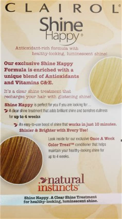 Review Shine Happy From Clairol by Clairol Instincts Hair Color Shine Happy 00 Clear