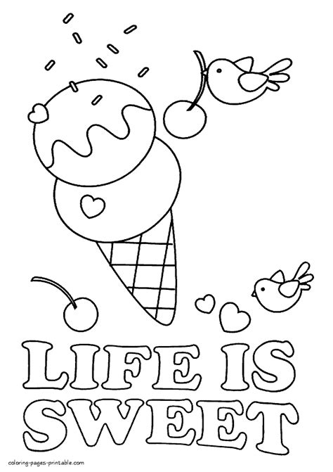 ice cream coloring pages pdf life is sweet coloring page
