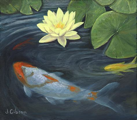 koi pond painting by joyce gibson