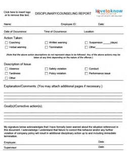 Company Write Up Template by Employee Disciplinary Write Up Form