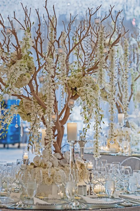 Manzanita Tree Centerpieces For A White Wedding Our White Manzanita Tree Centerpiece