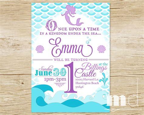 Mermaid Birthday Party Invitation Little Mermaid By Mulligandesign Niver Sara Pinterest Mermaid Birthday Invitation Templates