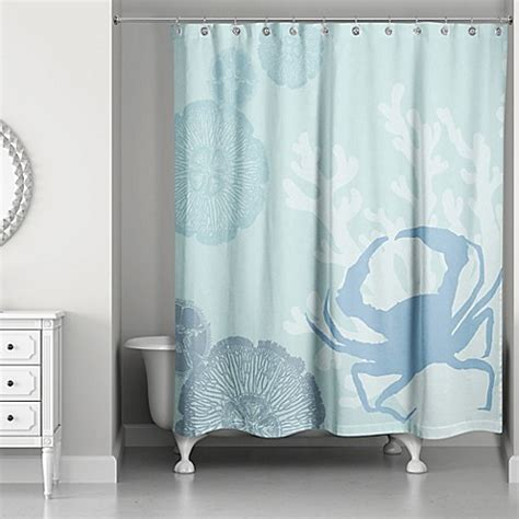 walk in shower with shower curtain buy crab walk shower curtain in blue from bed bath beyond