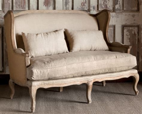 wingback settee park hill collection burlap linen wingback settee nm1272