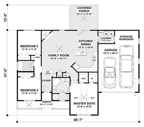 ranch style house plan 3 beds 2 baths 1457 sq ft plan