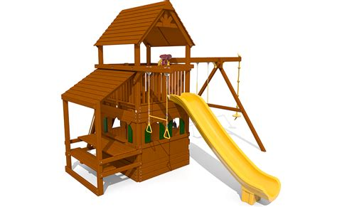 swing set roof 5 5 bengal fort config 2 with wood roof snack bar