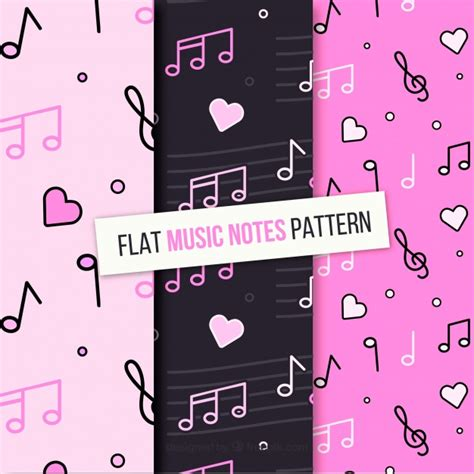 design pattern notes set of musical notes patterns in flat design vector free