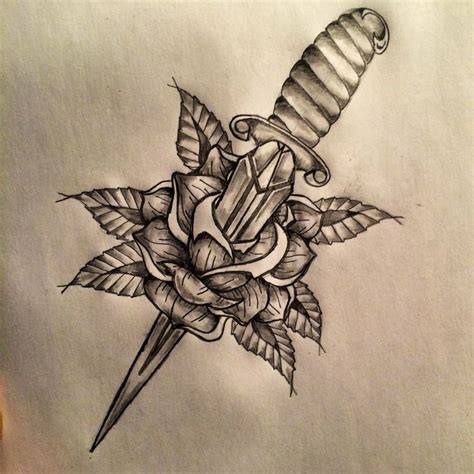 dagger through rose tattoo dagger sketch by ranz