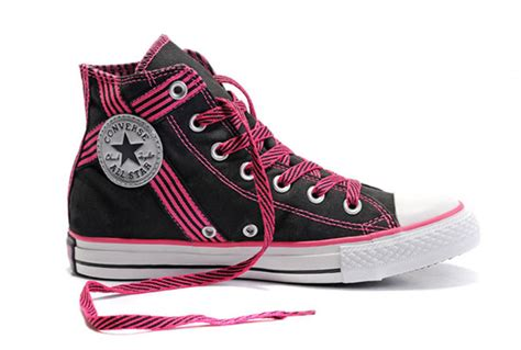 pink and black sneakers converse all american black and pink ribbon high top