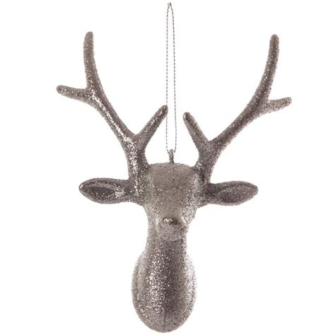 christmas silver glitter reindeer tree decoration 16cm long