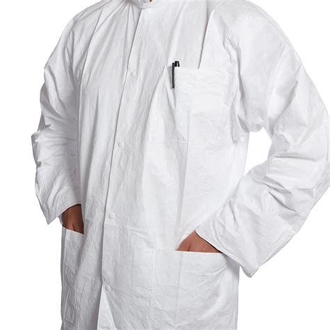disposable coat dupont tyvek disposable lab coat stud 3 pockets tg13