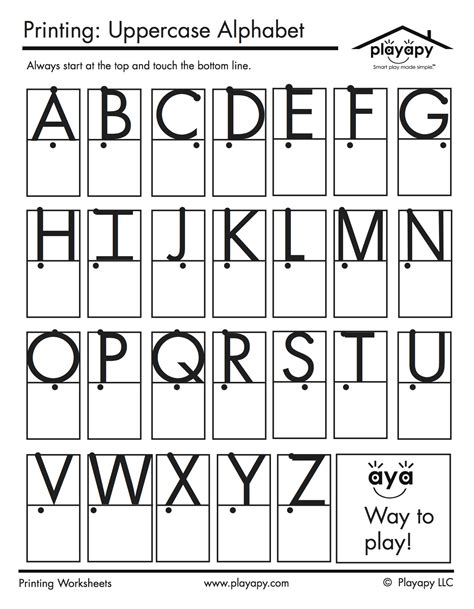 printable alphabet letters uppercase practice printables set playapy playful solutions