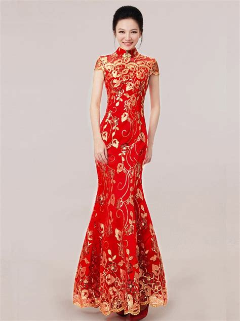 Wedding Qipao by Ankle Length Sequined Fishtail Cheongsam Qipao