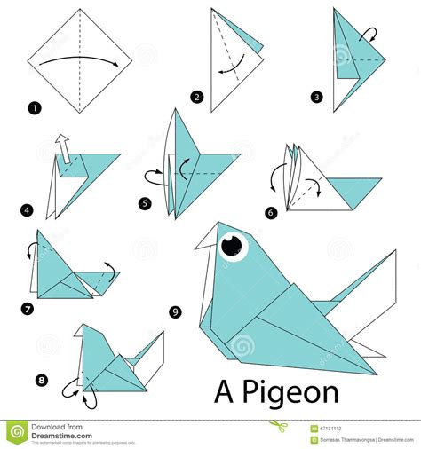 Steps To Make A Origami - step by step how to make origami a pigeon
