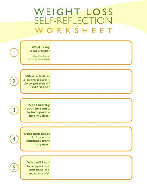weight loss goals template weight loss self reflection worksheet