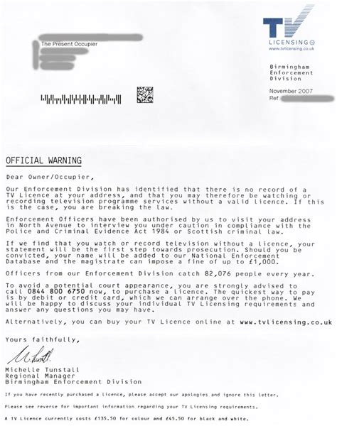 Irda Licence Cancellation Letter Format Tv Licensing And The Sending Threatening Letters