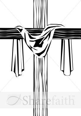 draped cross wooden cross with shroud image cross clipart