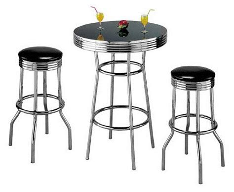 50s Bar Stools Chrome by 1950 Furniture Styles 3pcs Retro Style Black