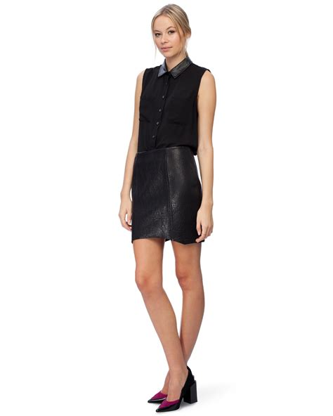 leather pebble mini skirt by nicholas the iconic