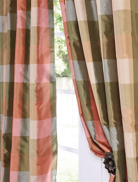 plaid silk curtains pin by linda umber on curtains pinterest